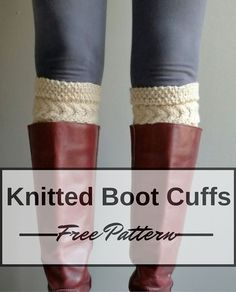 Cabled boot cuffs free knitting pattern. Easy knitting pattern for cute cabled boot cuff knit flat and seamed at the end, a great pattern for those who are not comfortable knitting in the round.