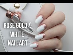 """Rose Gold & White Ruffian Nail Art - http://47beauty.com/nails/index.php/nail-art-designs-products/  Hi everyone! I'm so excited I finally made my own YouTube channel. Took me years of doubting to finally take the plunge. I hope you like my first video! I decided to show you a very simple but super elegant look I created recently. Hit the """"show more"""" button to find out which products I used. Hope you like it! Be sure to head over to my blog for the origi"""
