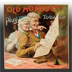 1140: Paper Litho Old Honesty Plug Tobacco Poster. : Lot 1140