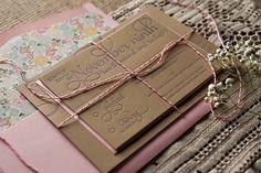 kraft wedding invitations, rustic wedding invitations, letterpress, pink and kraft, twine