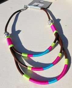 neon tribal necklace collar style in leather $9.00