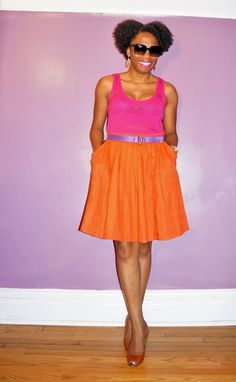 This is too cute! -->Economy of Style: Colorblocking: Pink, Orange, and Purple