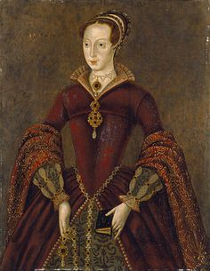 A stiff Elizabethan-style three-quarter portrait of Lady Jane Grey wearing elaborate formal dress and holding a prayer book. She is a tall,...