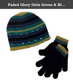 3c93fa5b2d2 Faded Glory Girls Green   Blue Stripes Sequin Hat   Gloves Beanie Set. This  colorful