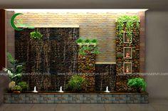 Vertical Garden Design, Backyard Garden Design, Ponds Backyard, Indoor Waterfall Wall, Water Wall Fountain, Small Water Gardens, Outdoor Wall Fountains, Inside Garden, Minimalist Garden