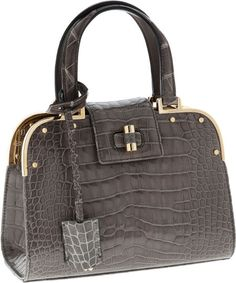 Yves Saint Laurent Special Order Shiny Gray Crocodile Small Sac Uptown Bag with Gold Hardware