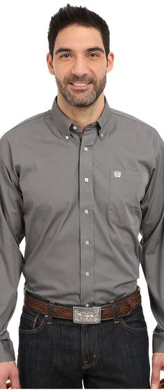 Cinch Long Sleeve Button Down Solid (Gray) Men's Clothing - Cinch, Long Sleeve Button Down Solid, MTW1104238, Apparel Top General, Top, Top, Apparel, Clothes Clothing, Gift - Outfit Ideas And Street Style 2017