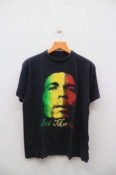 Vintage BOB MARLEY Jamaican Singer-Songwriter Black Tee T