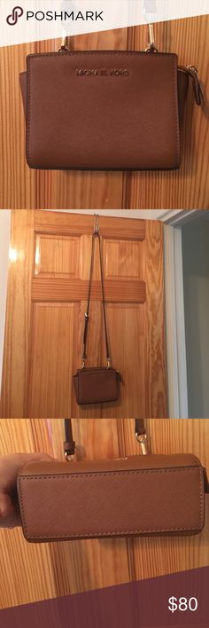 Michael Kors Bag, small Crossbody in luggage Brown Lightly used - maybe worn a handful of times. Great bag!! Jet Set Michael Kors Bags Crossbody Bags