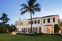 Colonial Exterior by Katherine Shenaman Interiors // palm beach landscape, palm trees
