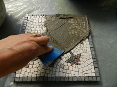 Making a Mosaic Trivet, Part IV: Grouting mosaics by Helen Miles Mosaics