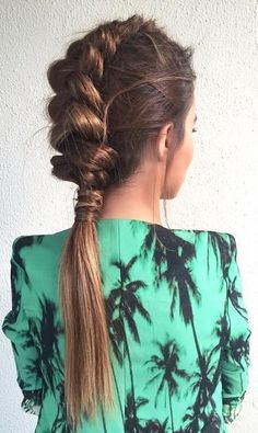 Loose Dutch Braid Ponytail (Photos)