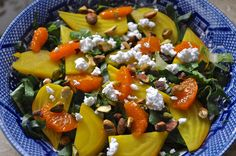golden beet salad with goat cheese, pistachios and clementine vinaigrette