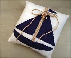 Nautical wedding ring pillow,