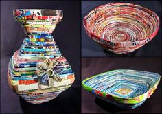 """Our most recent crafty Art project was to make a bowl out of folded magazine pages secured with white glue. This project introduced students to creative ways to re-use and recycle old magazines and create something 3-dimensional, functional and beautiful!"""