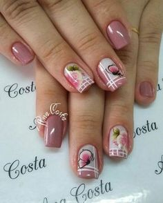 69 fotos de unhas francesinhas unhas decoradas com adesivos, unhas rosa decoradas, unhas decoradas Pretty Toe Nails, Cute Nails, Beautiful Nail Designs, Beautiful Nail Art, Nail Deco, Gel Nails, Acrylic Nails, Sugar Nails, Modern Nails