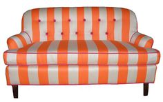 Vintage Orange Striped Settee Sofa by JessicaAllynDesigns on Etsy,