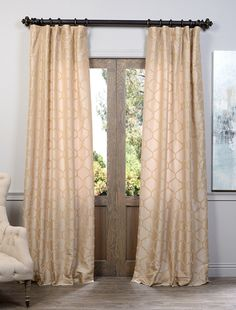 Marakesh Gold Flocked Faux Silk Taffeta Curtain PTFFLK-C34VP-108  , #SilkTaffetaCurtain