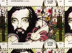 Illustration that won the first prize in the national competition organized by the Correo Argentino for the design of a commemorative stamp for the 100th anniversary of the birth of Julio Cortázar. #postcard #stamp #illustration #cortazar #watercolor