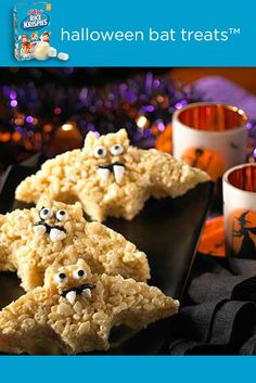 Bat Treats™?! Eek! Use a cookie cutter and some frosting to make fangs, funny faces and fancy wings on these cute and spooky Rice Krispies Treats®. Great for classroom Halloween parties!