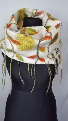 Big long very warm winter scarf with leaves, handmade and unique nuno felt silk wool shawl, gift idea for Thanksgiving day Nuno Felt Scarf, Felted Scarf, Handmade Scarves, Silk Wool, Nuno Felting, Wool Felt, Om, Leaves, Elegant