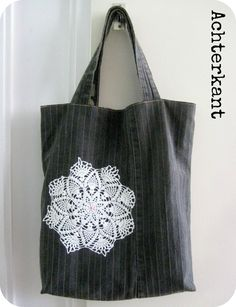 Grey Totebag made from old Jeans - By MiekK