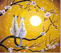 Siamese Cats Nestled In Golden Sakura by Laura Iverson