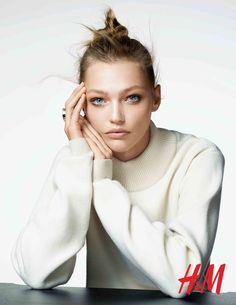 Sasha Pivovarova with a messy bun and understated makeup look for H&M Beauty fall-winter 2015 campaign