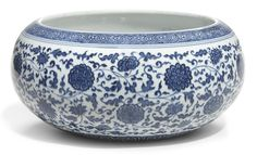 A large blue and white Ming-style spherical bowl. Qing Dynasty, 18th century ||| sotheby's