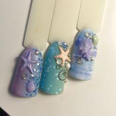 Ocean Nail Art, Beach Nail Art, Beach Nail Designs, Gel Nail Designs, Beach Nails, So Nails, Bling Nails, Beach Themed Nails, Mermaid Nails
