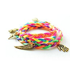 "Mixed Woven Friendship Bracelet - maybe with a star fish or other ""plunge"" type charm on it. Diy Jewelry, Jewelery, Jewelry Bracelets, Jewelry Accessories, Colorful Bracelets, Neon Colors, Clothing Items, Friendship Bracelets, Hand Weaving"