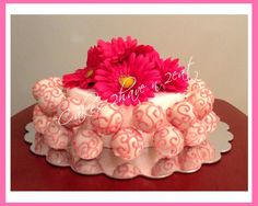 CAKE POP CAKE - VANILLA CAKE POPS COVERED IN WHITE CHOCOLATE WITH PINK CHOCOLATE DESIGNS