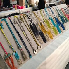 linen over foam board necklace display by cathy callahan