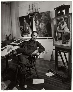 Norman Rockwell, 1956 photograph by Yousuf Karsh (Canadian born in Turkish Armenia, Peintures Norman Rockwell, Norman Rockwell Art, Norman Rockwell Paintings, Famous Artists, Great Artists, Yousuf Karsh, Museum Of Fine Arts, Caricatures, Oeuvre D'art