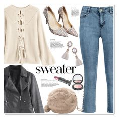 """""""Convertible Lace-up Sweater Apricot"""" by duma-duma ❤ liked on Polyvore featuring Lipstick Queen"""