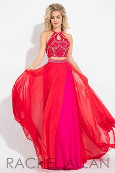 This high neck chiffon two piece has a detailed top and back, and it's at Rsvp Prom and Pageant, your source of the HOTTEST Prom and Pageant Dresses!