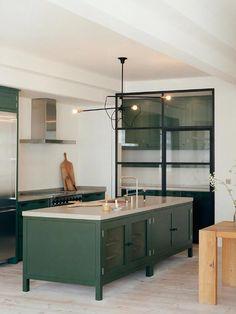 Dark Green Kitchen Interior Island Paint
