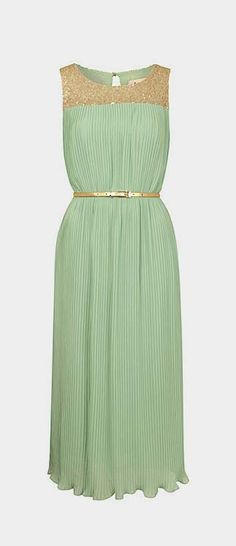 Mint Sequin Yoke Pleated Midi Dress