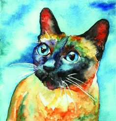 Siamese Cat Painting by Christy Freeman - Siamese Cat Fine Art Prints and Posters for Sale                                                                                                                                                                                 More