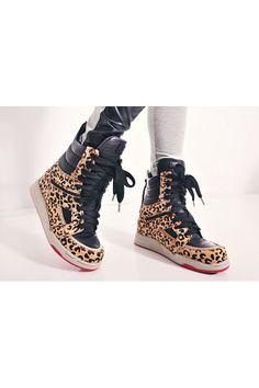 Sneakers hautes, PU cuir et fourrure léopard,