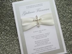 Baptism Invitation with Crystal Cross, Christening, Communion by PurpleandPlatinum on Etsy https://www.etsy.com/listing/203173330/baptism-invitation-with-crystal-cross