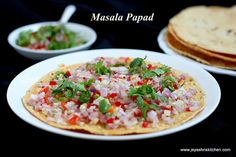 Masala papad is an easy and interesting snack generally served as a starter. Even we can have this as a teatime snack too. A guilt free snack which is always… Indian Snacks, Indian Food Recipes, Ethnic Recipes, White Sauce Recipes, Chaat Masala, Tea Time Snacks, Cooking Recipes, Healthy Recipes, Food Tasting