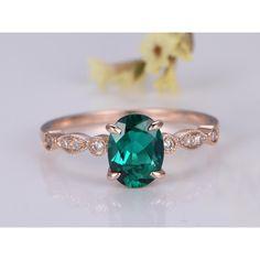6x8mm Oval Cut Lab Emerald and Diamond Engagement Ring 14K Rose Gold Milgrain Art Deco Antique