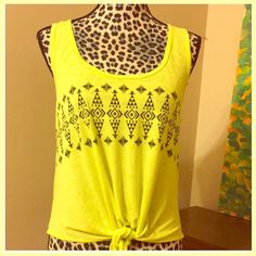 "Bik Bok Lime Green Tie Front Tank Top  Sz Small Bik Bok Lime Green / Yellow Tie Front Tank Top  Sz Small --- Swedish Brand --- 18"" bust --- 21"" length ---  14"" ties --- Very Soft --- 50% Viscose --- 50% Polyester --- Good Used condition Bik Bok Tops Tank Tops"