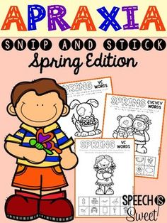 Spring Apraxia: Snip and Stick! 56 no prep pages for speech therapy! Includes color, cut, and glue activities for 8 different syllable patterns including: VC, CV, CVC, and many more!
