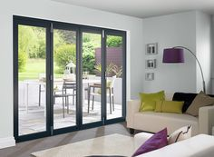 The attractive Vufold Master external bi-folding door sets come with a hardwood veneer which has a crisp 3 coat factory-applied white or grey finish and thick doors. Bifold Doors Onto Patio, Blinds For Bifold Doors, White Bifold Doors, Patio Doors, Balcony Doors, External Bifold Doors, Grey Hardwood, Software, Timber Door