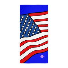 American Flag Beach Towel by MoonDreams Music #AmericanFlag #beachtowel #summer #beach #redwhiteblue