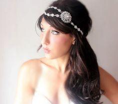 Bridal Rhinestone Headband. wedding tiara Gatsby Art by deLoop