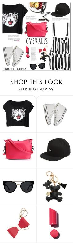 """Overalls"" by mada-malureanu ❤ liked on Polyvore featuring OBEY Clothing, Quay, Furla, Bobbi Brown Cosmetics, TrickyTrend and overalls"