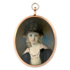 Portrait miniature of a Child wearing white dress, black and pink cloak and hat, her blonde hair worn long and curled.  Attributed to Francois Ferrière (1752-1837)